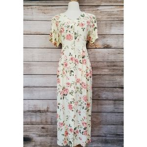 Vintage Dividends Yellow Pink Floral Maxi Dress
